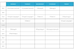 Timetable Key Stage 5